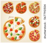 pizza top view set. italian... | Shutterstock .eps vector #567793504