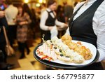 catering service. waitress on... | Shutterstock . vector #567795877