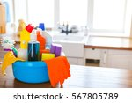 basket with cleaning items on...   Shutterstock . vector #567805789