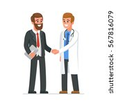 doctor shaking businessman hand.... | Shutterstock .eps vector #567816079