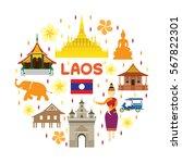 laos travel attraction label ... | Shutterstock .eps vector #567822301