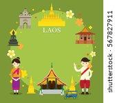 laos landmarks  people in...   Shutterstock .eps vector #567827911
