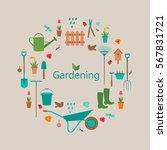 garden set with rubber boots ... | Shutterstock .eps vector #567831721