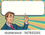 businessman points up to copy... | Shutterstock .eps vector #567832201