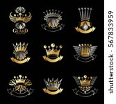 imperial crowns emblems set.... | Shutterstock .eps vector #567833959