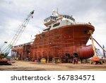 shipyard industry    ship... | Shutterstock . vector #567834571