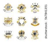 royal symbols  flowers  floral... | Shutterstock .eps vector #567841351