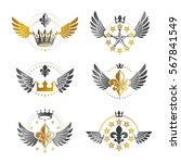 ancient crowns and military... | Shutterstock .eps vector #567841549