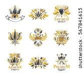 royal symbols  flowers  floral... | Shutterstock .eps vector #567841615
