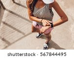 top view shot of young woman... | Shutterstock . vector #567844495