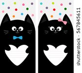 black cat kitty family holding...   Shutterstock .eps vector #567845611