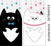 black white cat kitty family...   Shutterstock .eps vector #567846919