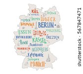 hand drawn map of germany with... | Shutterstock .eps vector #567847471
