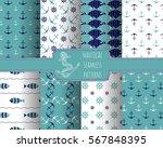 seamless nautical themed... | Shutterstock .eps vector #567848395