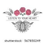 hand drawn boho style design... | Shutterstock .eps vector #567850249