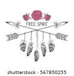 hand drawn boho style design... | Shutterstock .eps vector #567850255