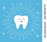healthy tooth icon with smiling ... | Shutterstock .eps vector #567850375