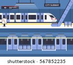 city subway station platform... | Shutterstock .eps vector #567852235