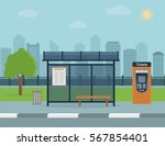 bus stop with city background . ...