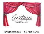 curtain watercolor.   Shutterstock . vector #567854641