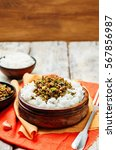 spicy indian minced meat with... | Shutterstock . vector #567856987