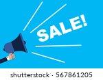 male hand holding megaphone ... | Shutterstock .eps vector #567861205