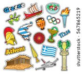 greece travel elements with... | Shutterstock .eps vector #567865219