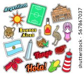 argentina travel elements with... | Shutterstock .eps vector #567867037