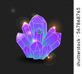 purple gemstone  cartoon... | Shutterstock .eps vector #567868765