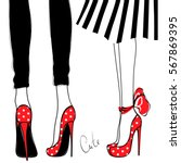 vector girls in high heels.... | Shutterstock .eps vector #567869395