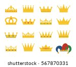 set of gold crowns and jester's ... | Shutterstock .eps vector #567870331