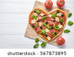 Heart Pizza Love Concept...