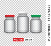 vector medical set jars with a...