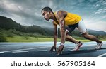 sport. runner on the start. | Shutterstock . vector #567905164
