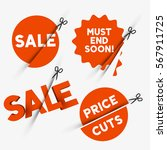 red sale signs and discount... | Shutterstock .eps vector #567911725