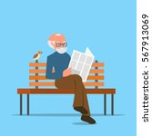 grandfather sitting on a bench... | Shutterstock .eps vector #567913069