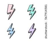 vector retro set with lightning ... | Shutterstock .eps vector #567914581