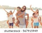 portrait of happy young... | Shutterstock . vector #567915949