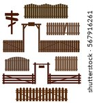 set of wooden fences with gates ... | Shutterstock .eps vector #567916261