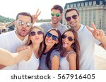 six happy successful young... | Shutterstock . vector #567916405