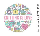 knitting  crochet  hand made... | Shutterstock .eps vector #567919591