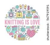 knitting  crochet  hand made... | Shutterstock .eps vector #567919591