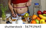 detox. young girl measures the... | Shutterstock . vector #567919645