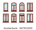 various designs of brown window ... | Shutterstock .eps vector #567921055