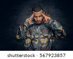 studio portrait of black man... | Shutterstock . vector #567923857