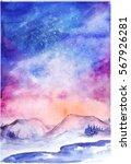 watercolor northern lights... | Shutterstock . vector #567926281
