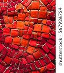 Red Mosaic Tiles Of Irregular...