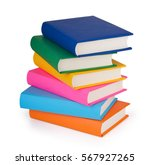 pile of books isolated on white ... | Shutterstock . vector #567927265