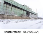 Winter. Old Abandoned Factory...