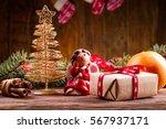 gold christmas tree  christmas... | Shutterstock . vector #567937171